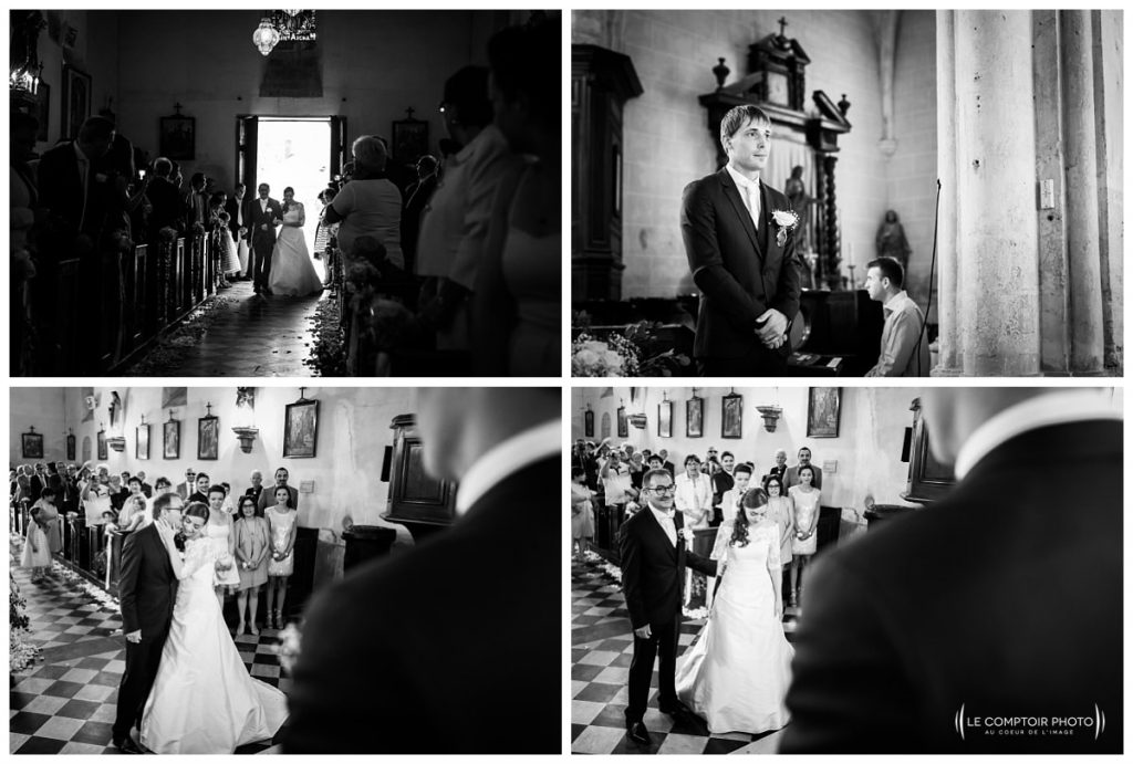 arrivée de la mariée avec son père_ église Hondainville proche du chateau des saules_Ansacq_Le Comptoir Photo- Photographe oise mariage