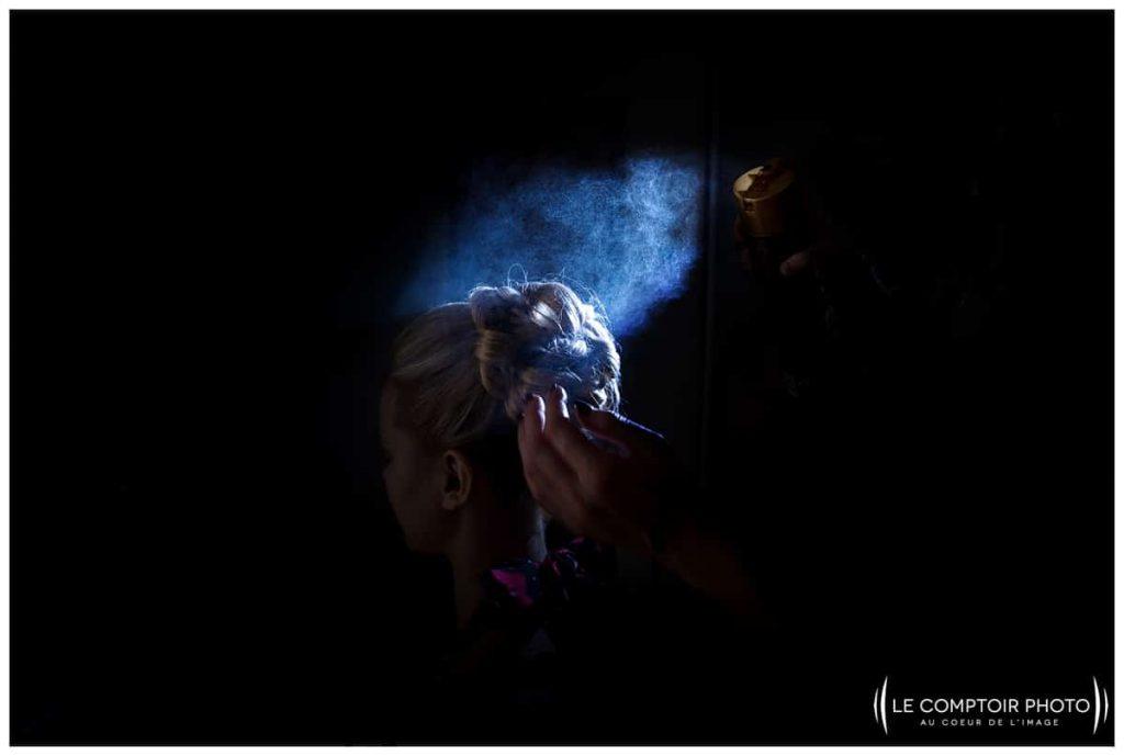 préparatifs de la mariée coiffure spray chez ses parents à choisy au bac proche compiegne
