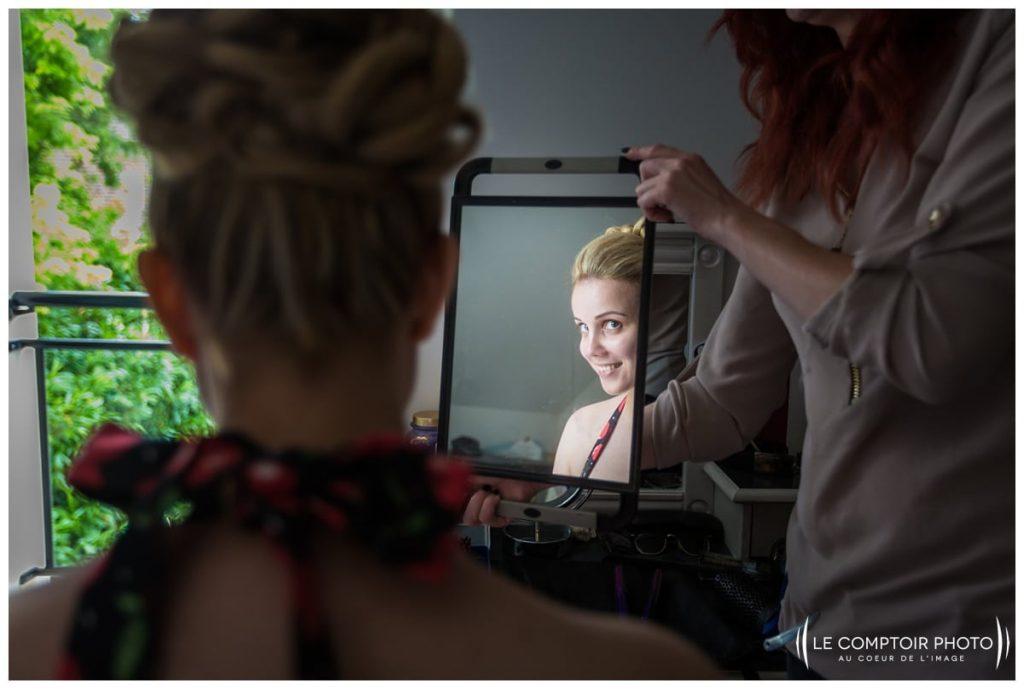 préparatifs de la mariée fin de la coiffure chez ses parents à choisy au bac proche compiegne