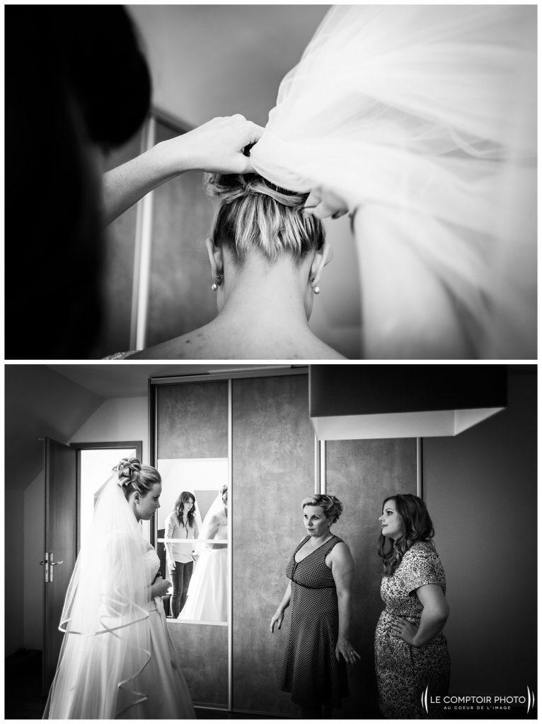 préparatifs de la mariée mise en robe chez ses parents à choisy au bac proche compiegne
