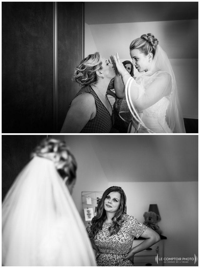 préparatifs de la mariée complicité avec sa mère et soeur chez ses parents à choisy au bac proche compiegne