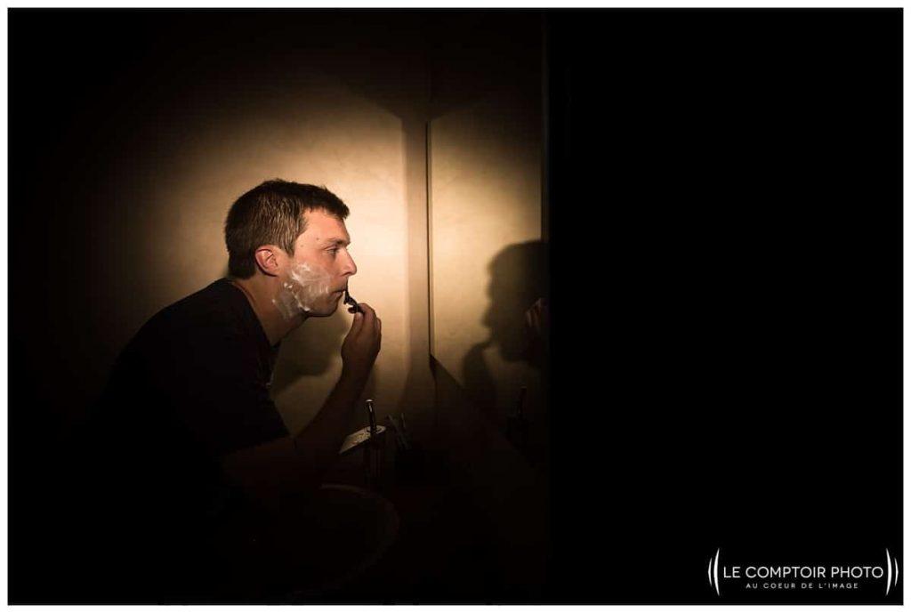préparatifs du marié, rasage_choisy au bac_Le Comptoir Photo_Photographe mariage oise_Beauvais