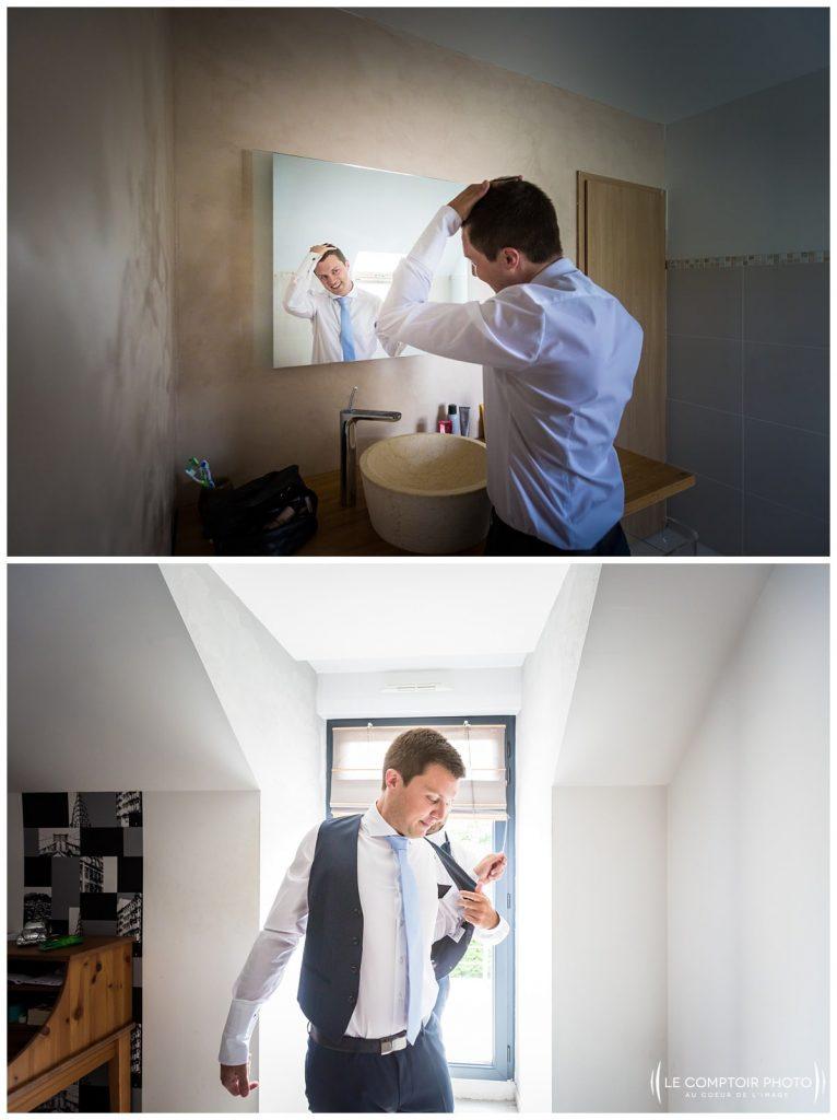 préparatifs du marié, costume_coiffure_choisy au bac_Le Comptoir Photo_Photographe mariage oise_Beauvais