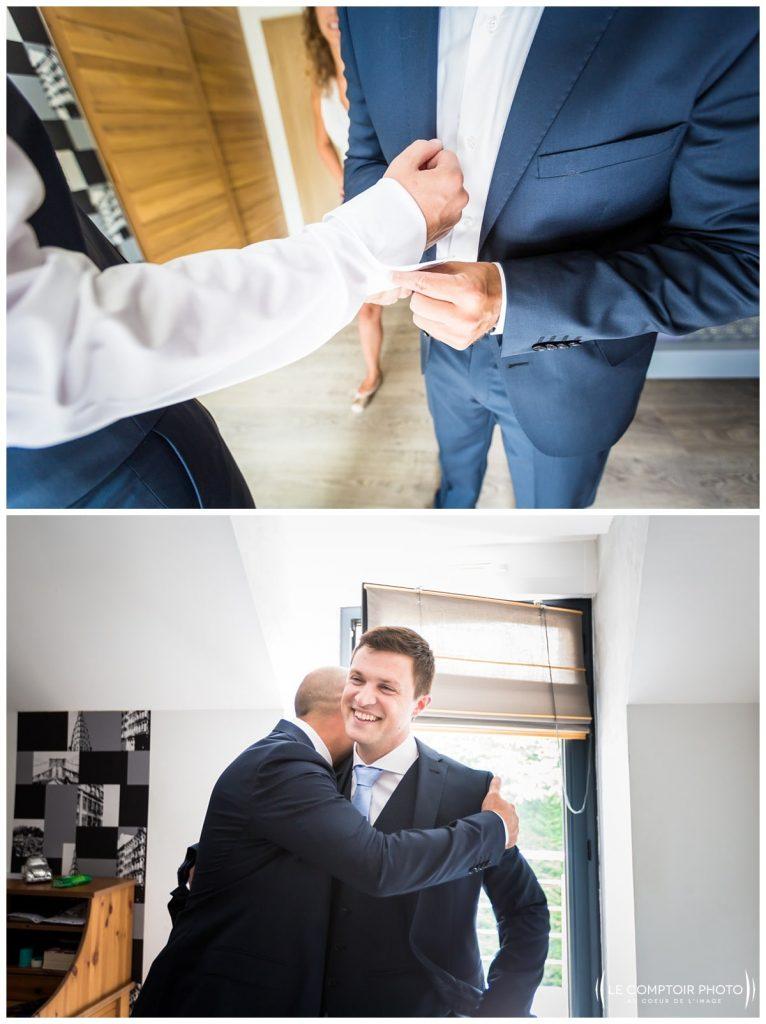 préparatifs du marié, costume_chaussure_embrassade_choisy au bac_Le Comptoir Photo_Photographe mariage oise_Beauvais