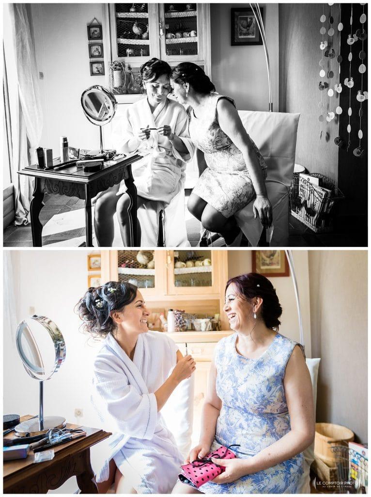 Mariage Carolina-Fabien-Manoir de Chantilly_Gouvieux_Photographe mariage Oise_Le Comptoir Photo- préparatifs de la mariée - calin avec sa maman