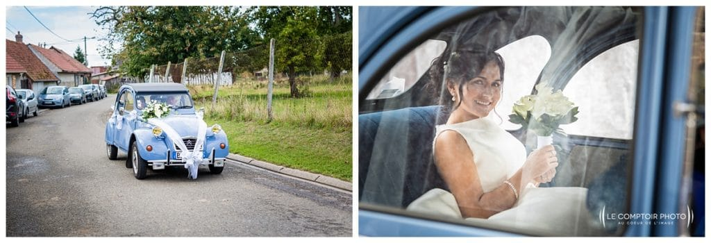 Arrivée de la mariée en 2cv -Mariage-Carolina-Fabien-Manoir-de-Chantilly_Gouvieux_Photographe-mariage-Oise_photographe-oise_Le-Comptoir-Photo