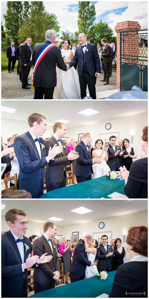 Arrivée à la mairie, signature et embrassade - Mariage-Carolina-Fabien-Manoir-de-Chantilly_Gouvieux_Photographe-mariage-Oise_photographe-oise_Le-Comptoir-Photo