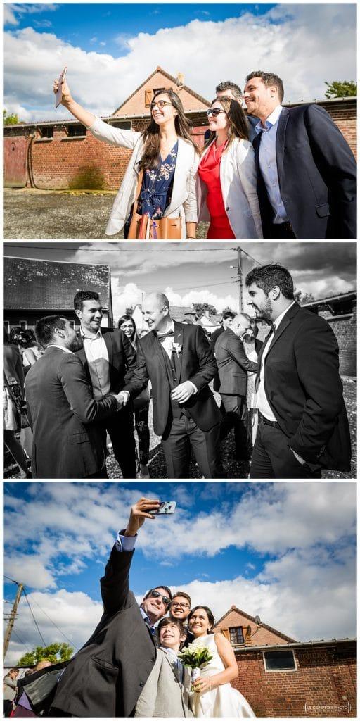 Arrivée sur le lieu du cocktail - selfy - selfie avec les invités et mariés - Mariage-Carolina-Fabien-Manoir-de-Chantilly_Gouvieux_Photographe-mariage-Oise_photographe-oise_Le-Comptoir-Photo