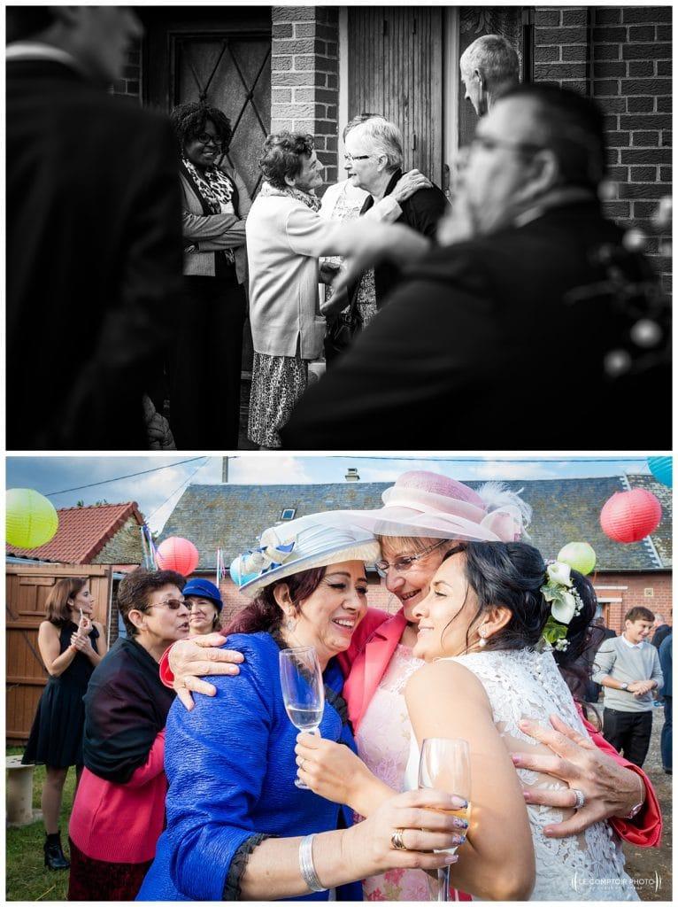 Embrassade des invités et mariée - Mariage-Carolina-Fabien-Manoir-de-Chantilly_Gouvieux_Photographe-mariage-Oise_photographe-oise_Le-Comptoir-Photo