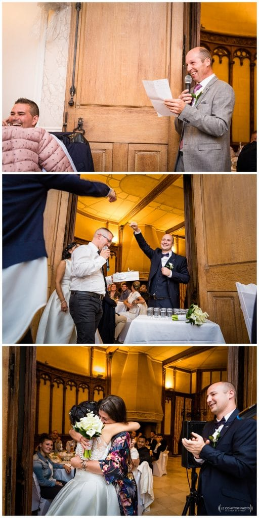 discours du papa - jeu colombien - lancer du bouquet - boucle d'oreille - embrassade - Mariage-Carolina-Fabien-Manoir-de-Chantilly_Gouvieux_Photographe-mariage-Oise_photographe-oise_Le-Comptoir-Photo
