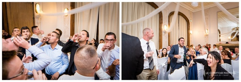 Jeu jarretière colombien - alcool- eau dans les verres - Mariage-Carolina-Fabien-Manoir-de-Chantilly_Gouvieux_Photographe-mariage-Oise_photographe-oise_Le-Comptoir-Photo
