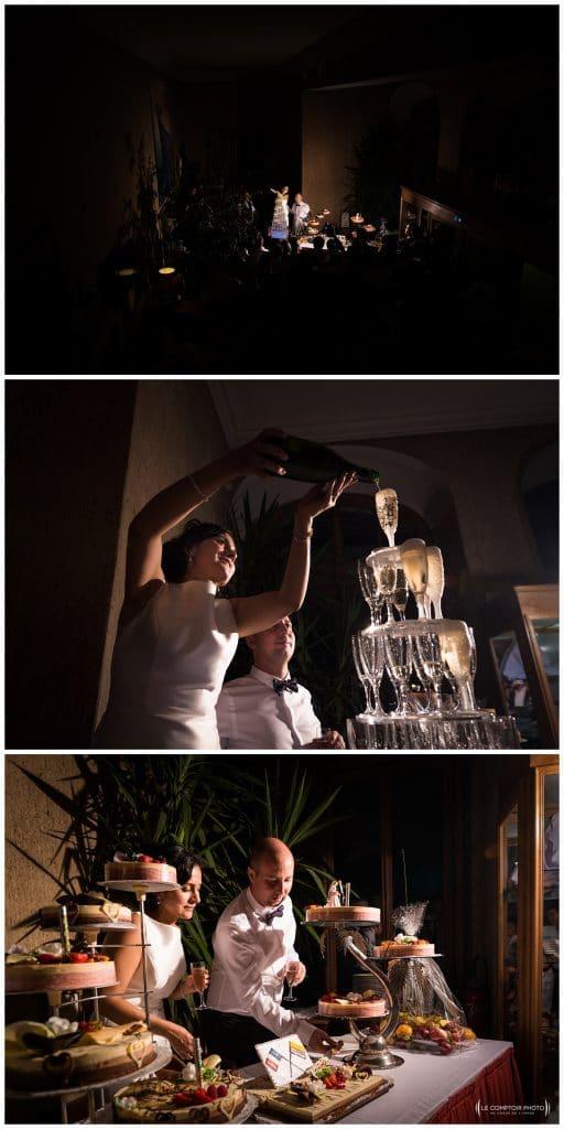 Fontaine de champagne - gâteau des mariés - Mariage-Carolina-Fabien-Manoir-de-Chantilly_Gouvieux_Photographe-mariage-Oise_photographe-oise_Le-Comptoir-Photo