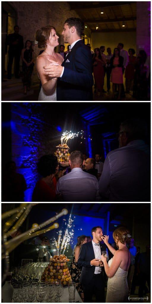 Mariage-Chateau Lardier-Ruch-Photographe mariage bordeaux-aquitaine-gironde-dordogne-libourne-bergerac-franco-canadien-americain-Le Comptoir Photo_Photographe mariage France Oise - première danse et arrivée du gâteau