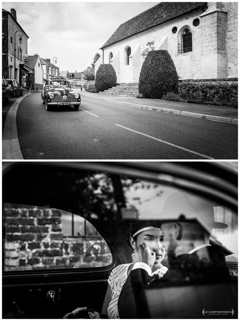 Reportage photo mariage à la Grange des Mollières dans les Yvelines-Photographe mariage Ile-de-France-paris-Oise-Le Comptoir Photo-arrivée en voiture collection-intimité