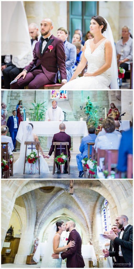 Reportage photo mariage à la Grange des Mollières dans les Yvelines-Photographe mariage Ile-de-France-paris-Oise-Le Comptoir Photo-complicité-embrassade à l'église
