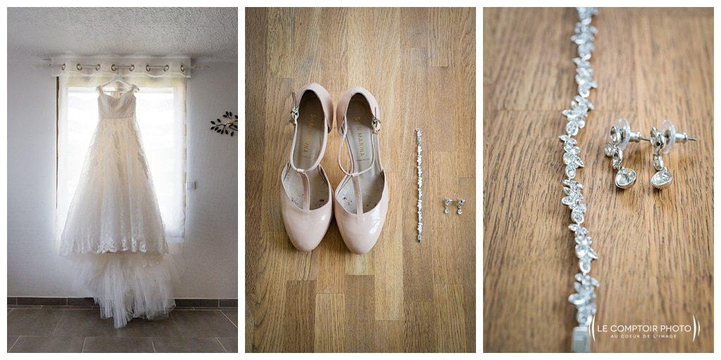 détails de la mariée - robe - chaussure - collier - photographe beauvais - le comptoir photo