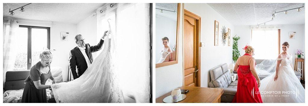 mise en robe de la mariée