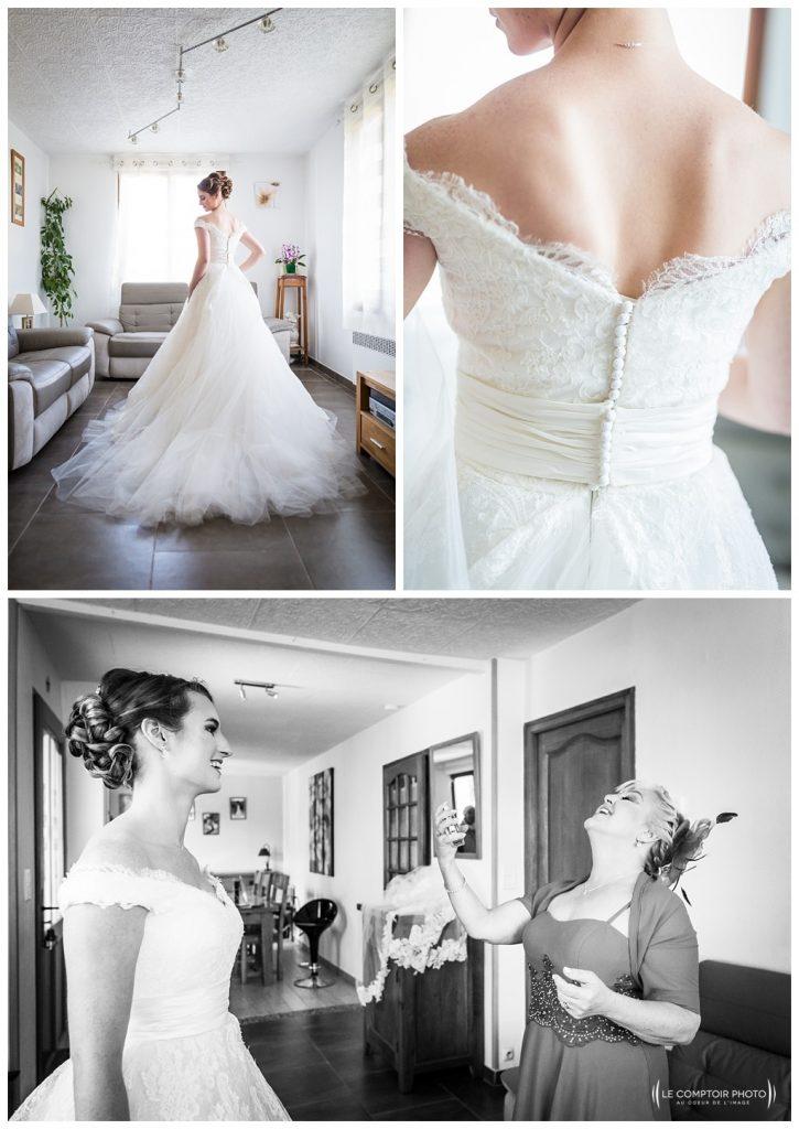 mise en robe - détails de la robe - ambiance - photographe beauvais