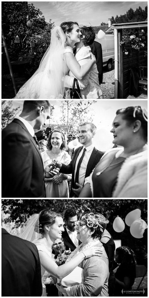 embrassade des mariés et des invités