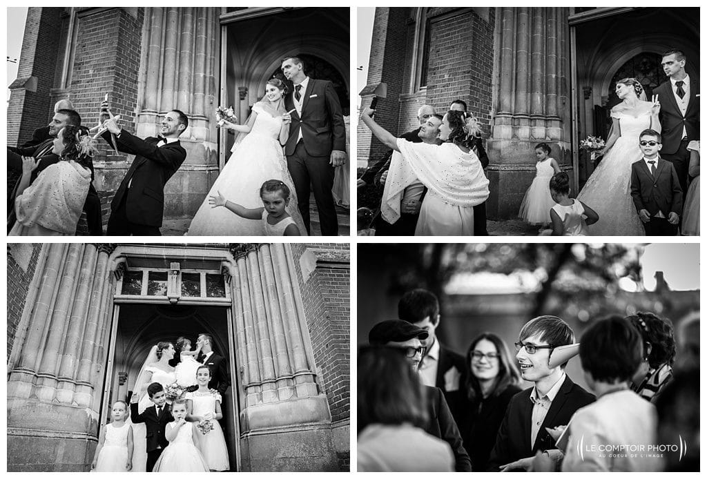Sortie d'églie et selfi- le comptoir photo-photographe mariage oise beauvais