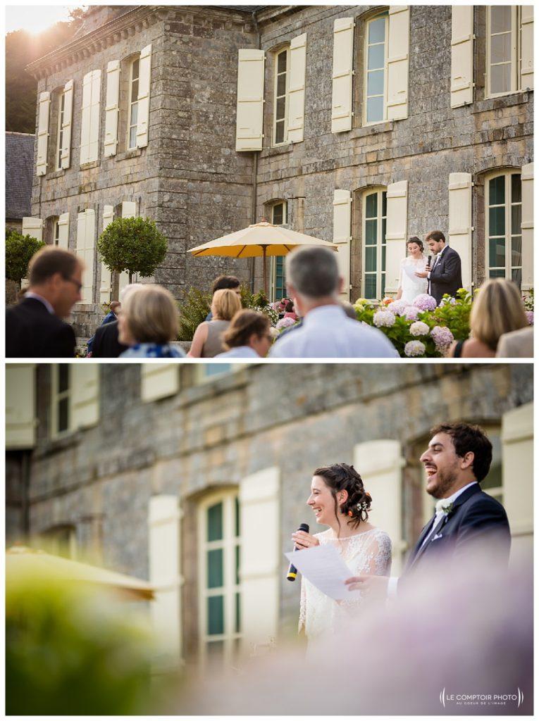 reportage mariage-chateau guilguiffin-bretagne-wedding in brittany-finistere-photographe saint brieuc côtes d'armor-le comptoir photo-discours-mariés-rire