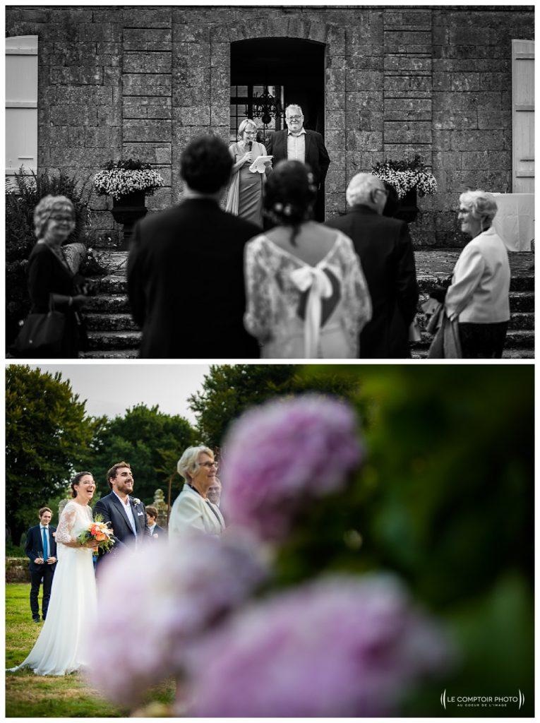 reportage mariage-chateau guilguiffin-bretagne-wedding in brittany-finistere-photographe saint brieuc côtes d'armor-le comptoir photo-discours-parent-rire-marié