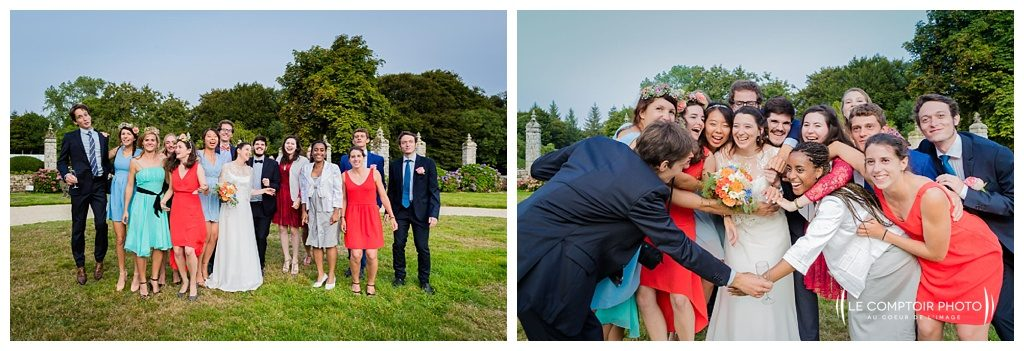 reportage mariage-chateau guilguiffin-bretagne-wedding in brittany-finistere-photographe saint brieuc côtes d'armor-le comptoir photo-groupe-amis-famille