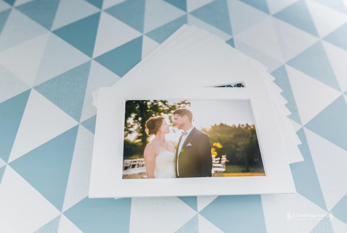 Tirage papier rigide - finition - photos des mariés