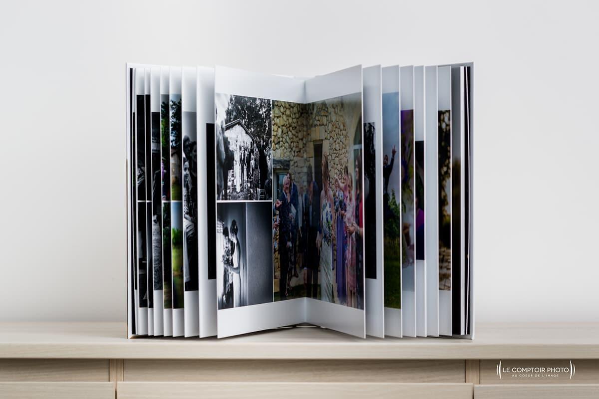 Livre photo mariage - ouverture - épaisseur - rigide